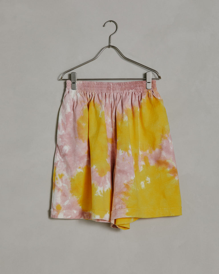 Lounge Roll-Up Shorts in Yellow Pink Tie Dye