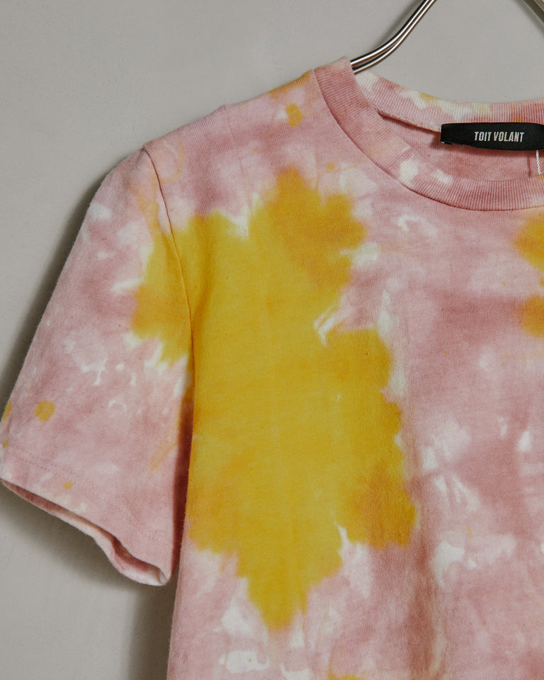 Classic Baby-Tee in Yellow Pink Tie-Dye