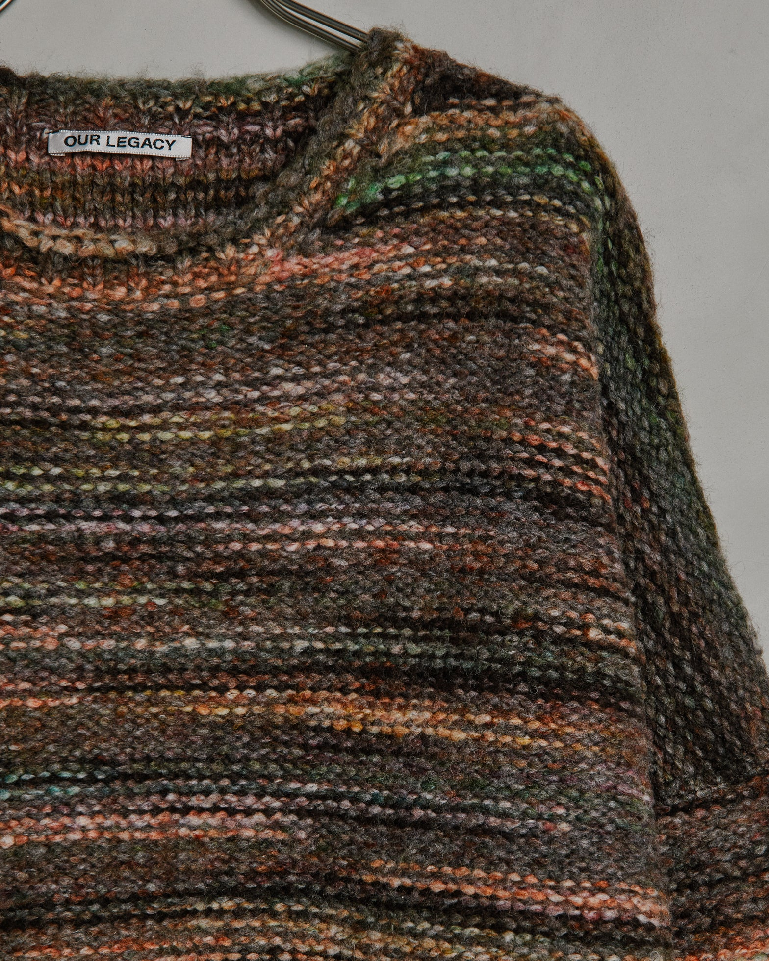 Popover Roundneck in Green/Red Smudge Fair Isle
