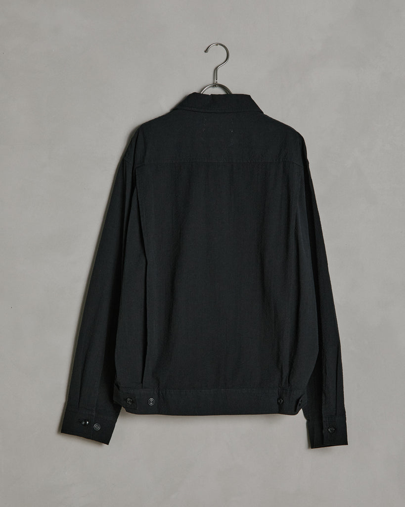 Seersucker Zip Jacket in Black