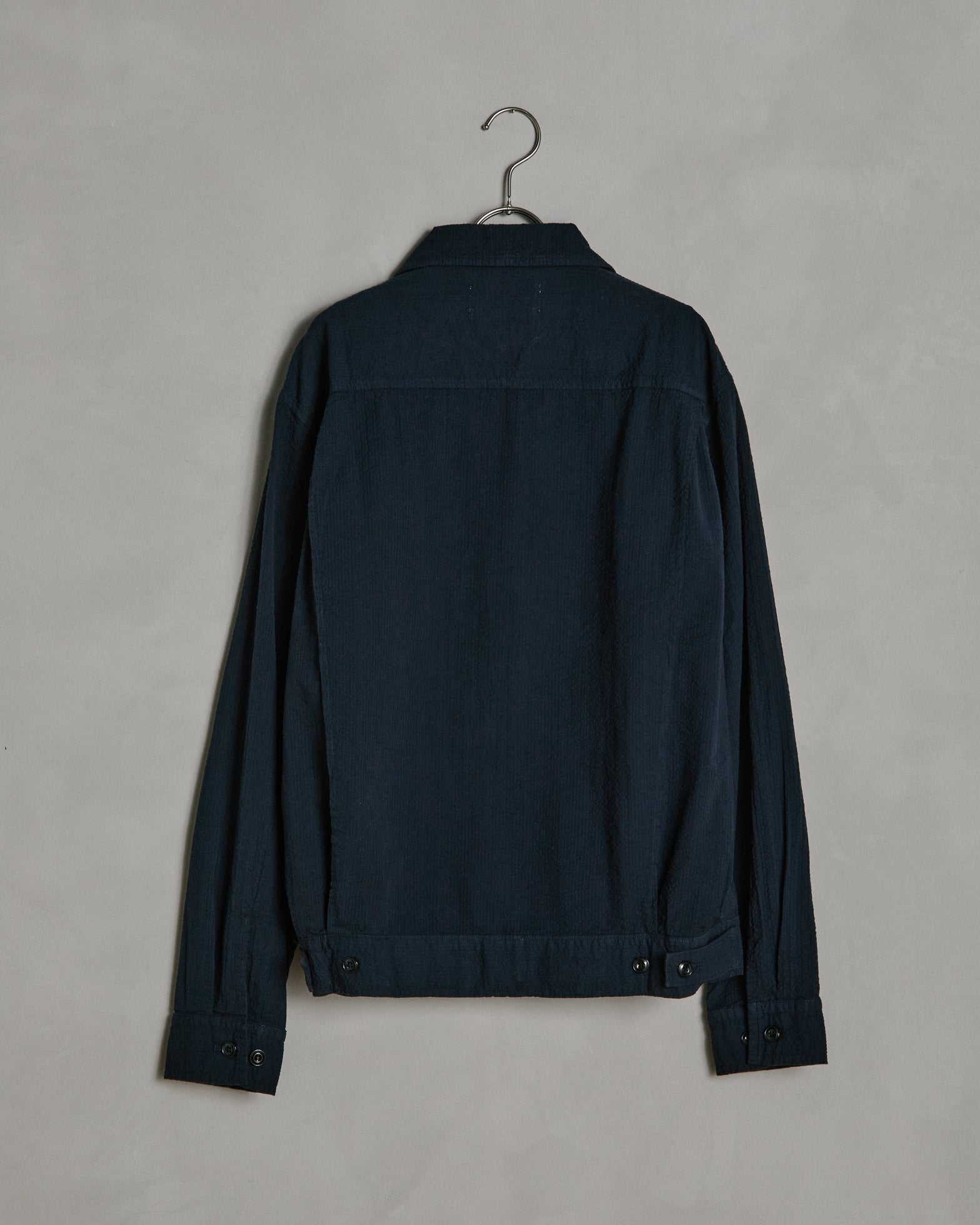 Seersucker Zip Jacket in Navy