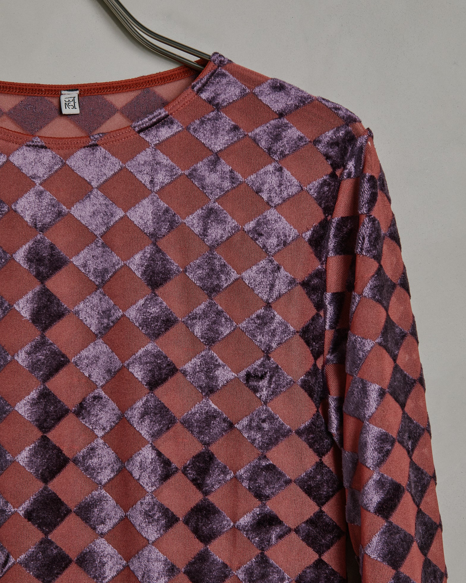 Oma Long Sleeve Tee in Checked Purple/Rose