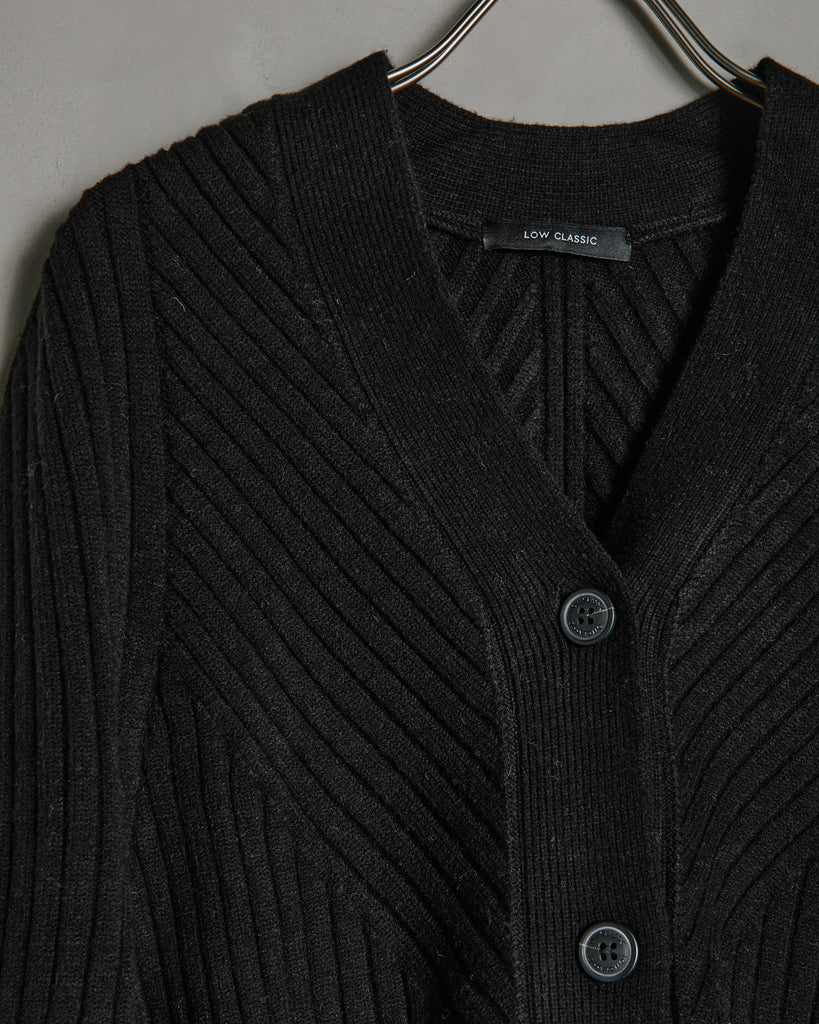 Whole Garment Cardigan in Black