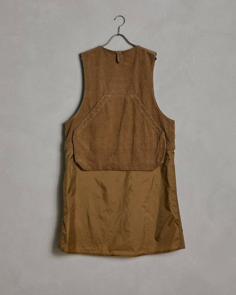 Long Fowl Vest in Khaki