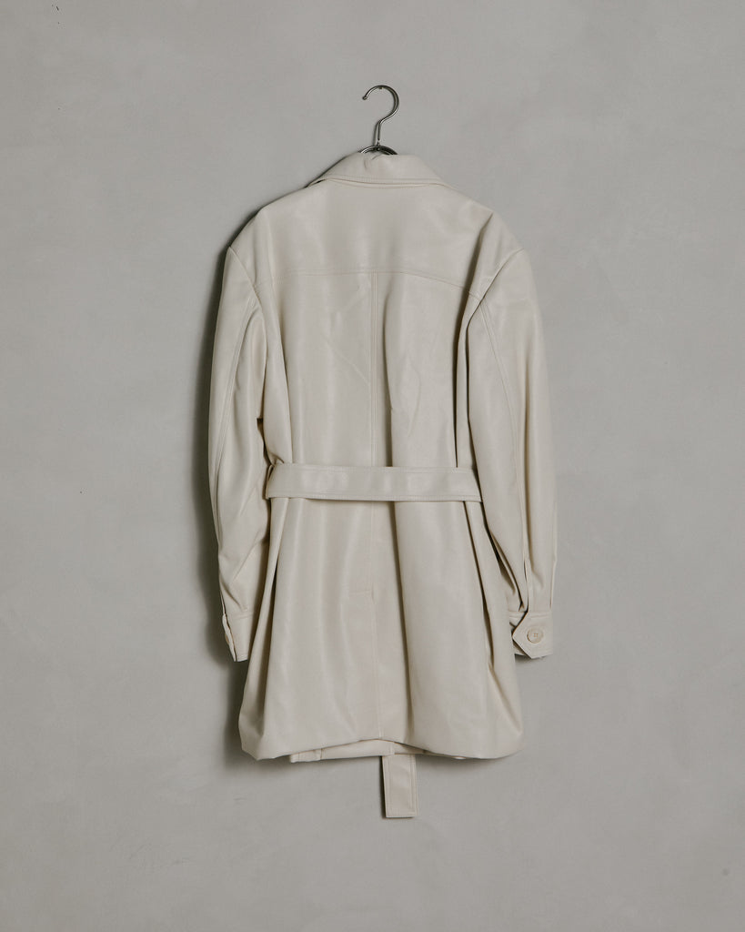 Leather Belt Long Shirt in Ivory