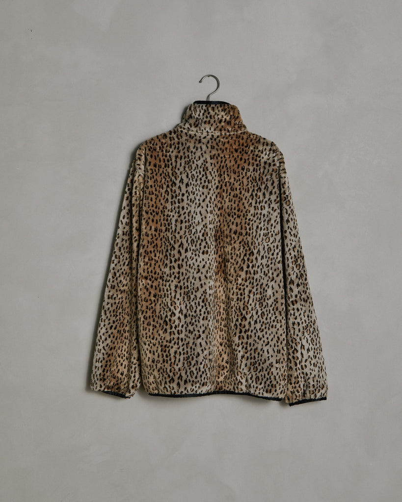 W.U. Faux Fur Piping Jacket in Leopard