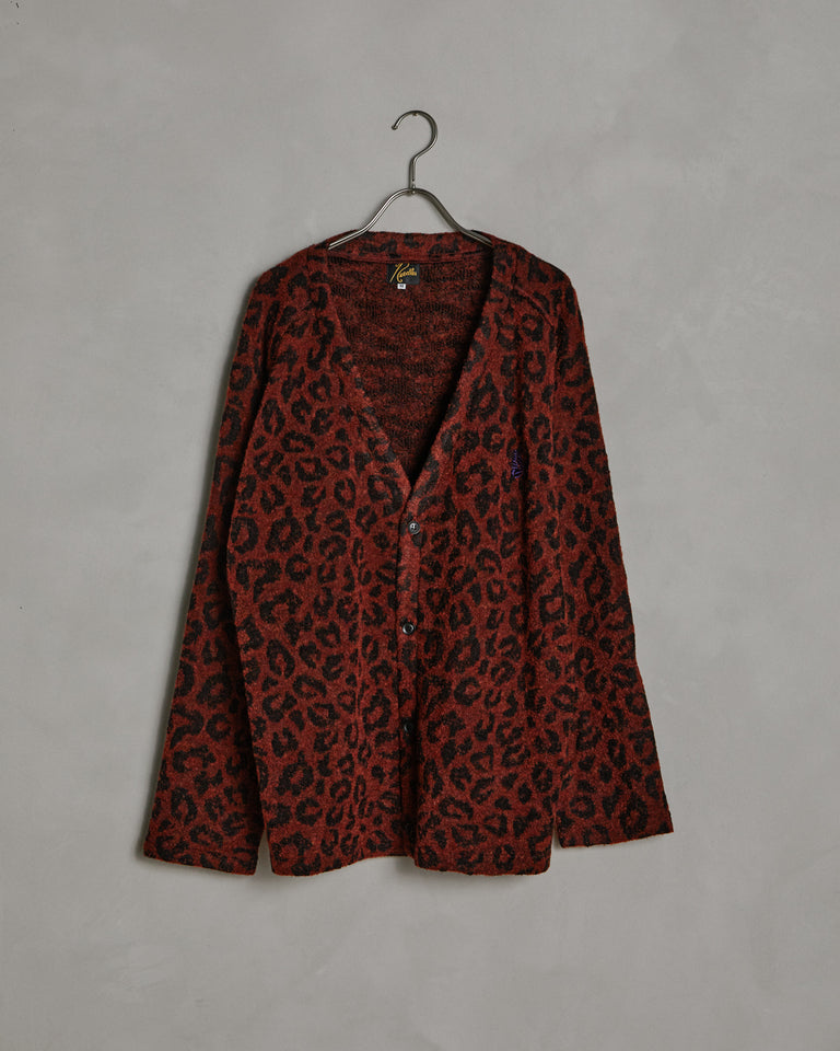 V-neck Cardigan Leopard Knit in Red