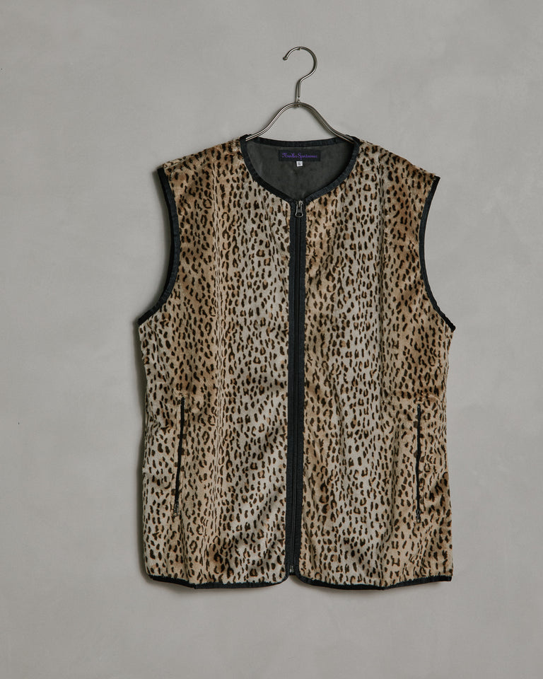 W.U. Faux Fur Piping Vest in Leopard