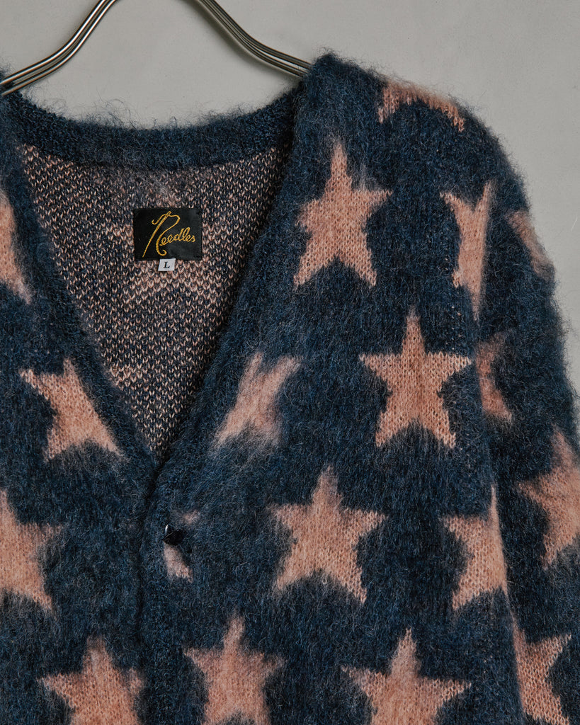Mohair Star Cardigan in Blue Grey