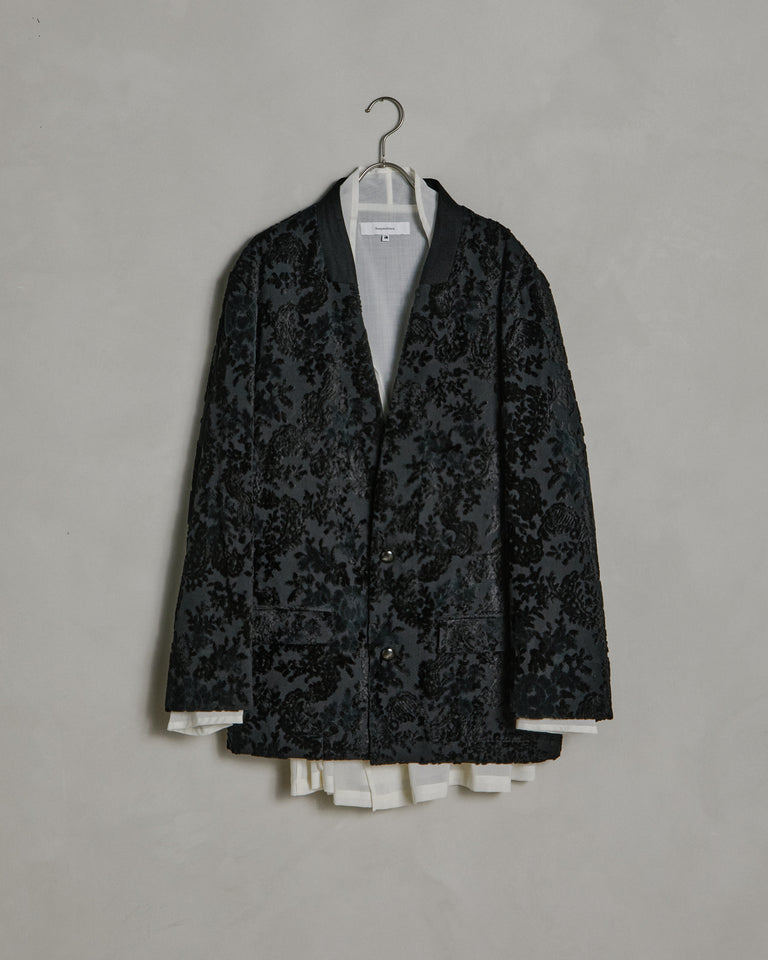 Flower Velvet Lapel Jacket in Black