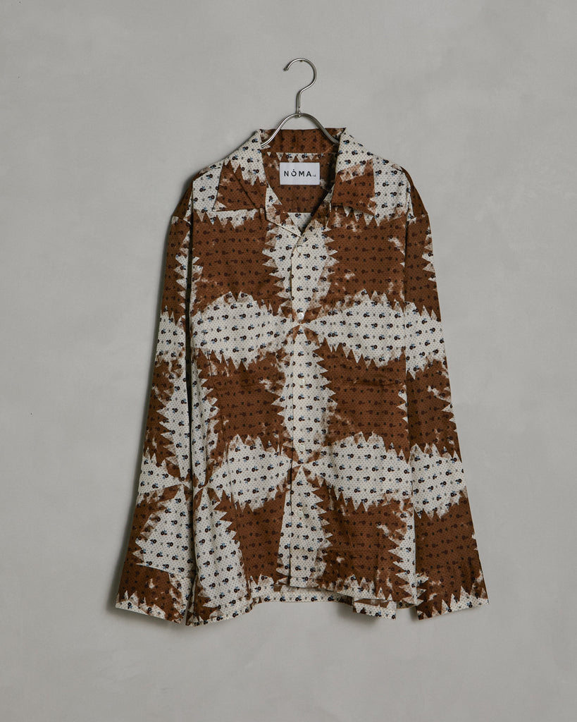 Flower & Quilt Shirt in Brown