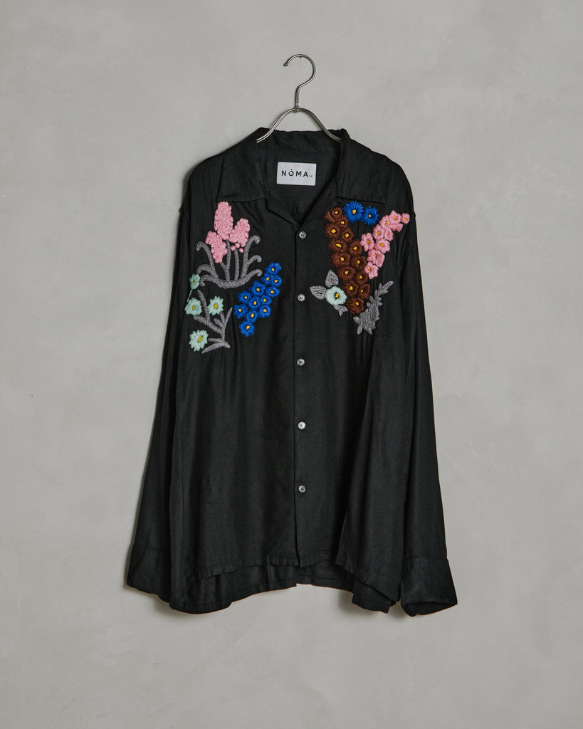 Floral Embroidered Shirt in Black