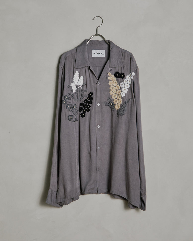 Floral Embroidered Shirt in Gray