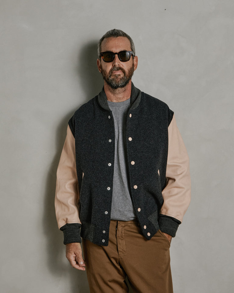 Stadium Jumper Jacket in Charcoal/Natural
