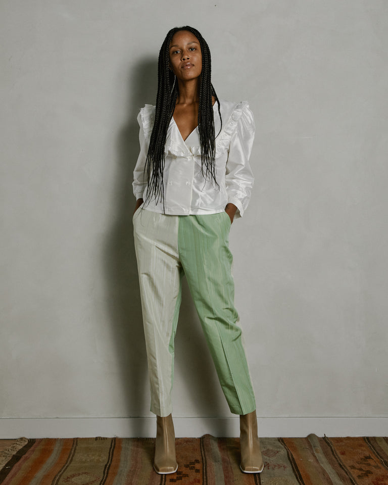 Joan Trouser in Mixed Lime