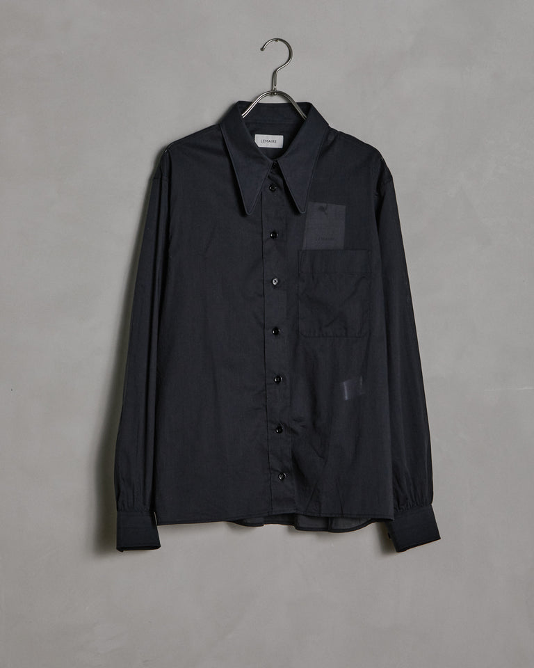 Pointed Collar Shirt in Black