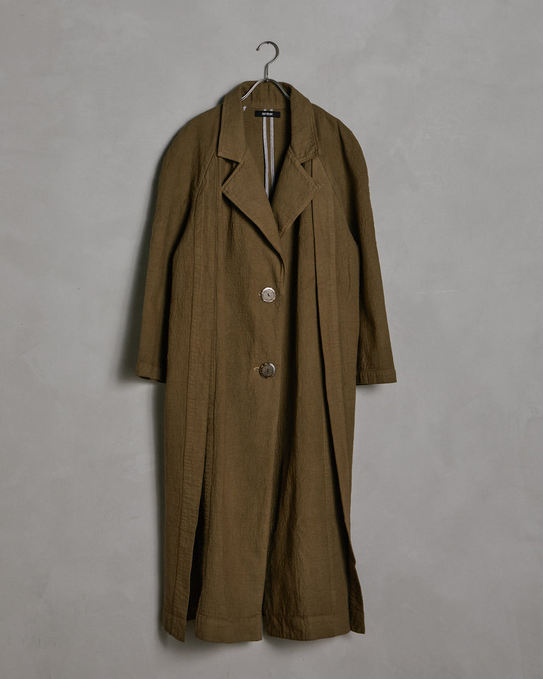 Raglan Slit Coat in Gothic Olive
