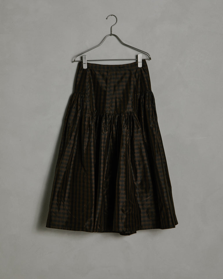 Garden Skirt in Brown/Black Gingham