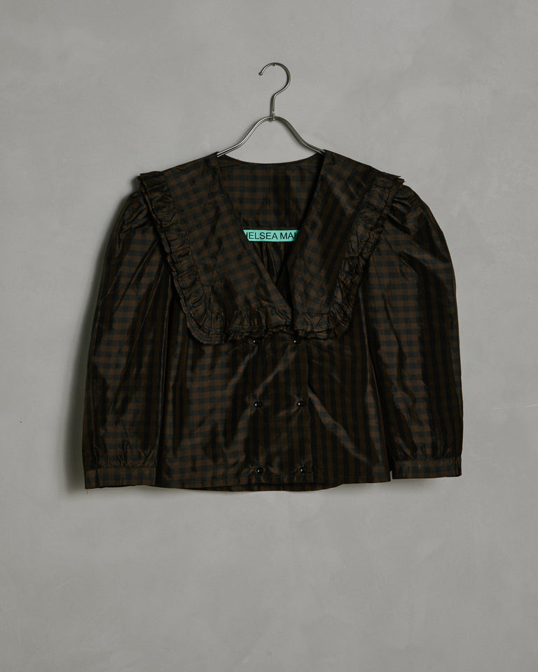 Vienna Top in Brown/Black Gingham