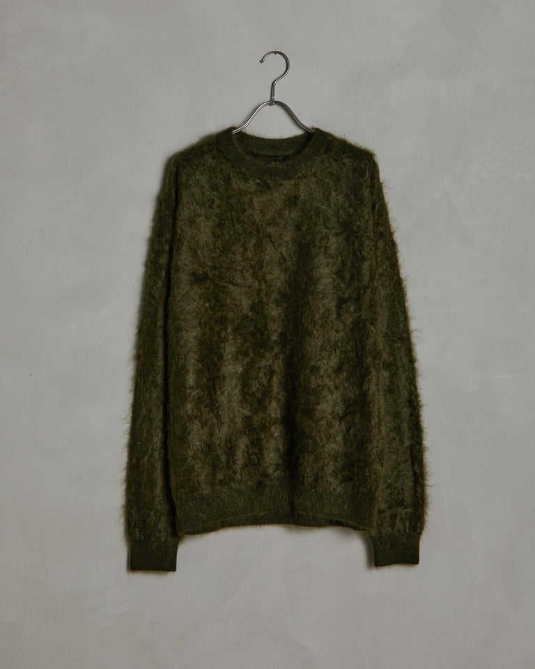 Cashmere Shaggy Dog Sweater in Olive