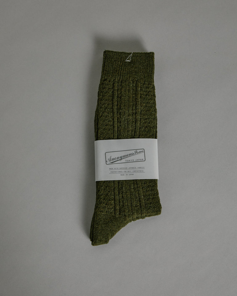 Wool Cashmere Links Crew in Olive