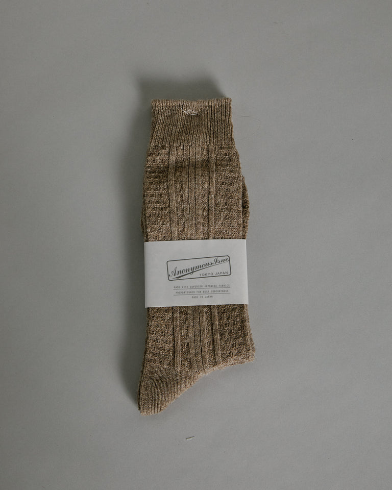 Wool Cashmere Links Crew in Beige