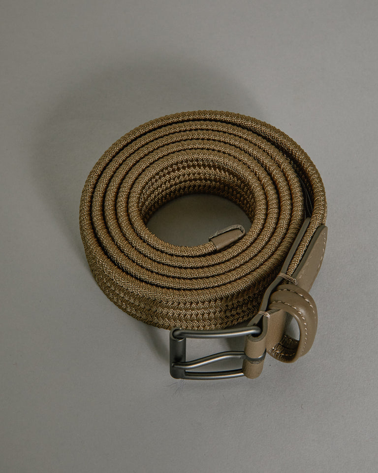 Matte Silver Buckle Belt in Beige