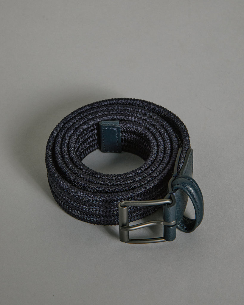 Matte Silver Buckle Belt in Dark Blue