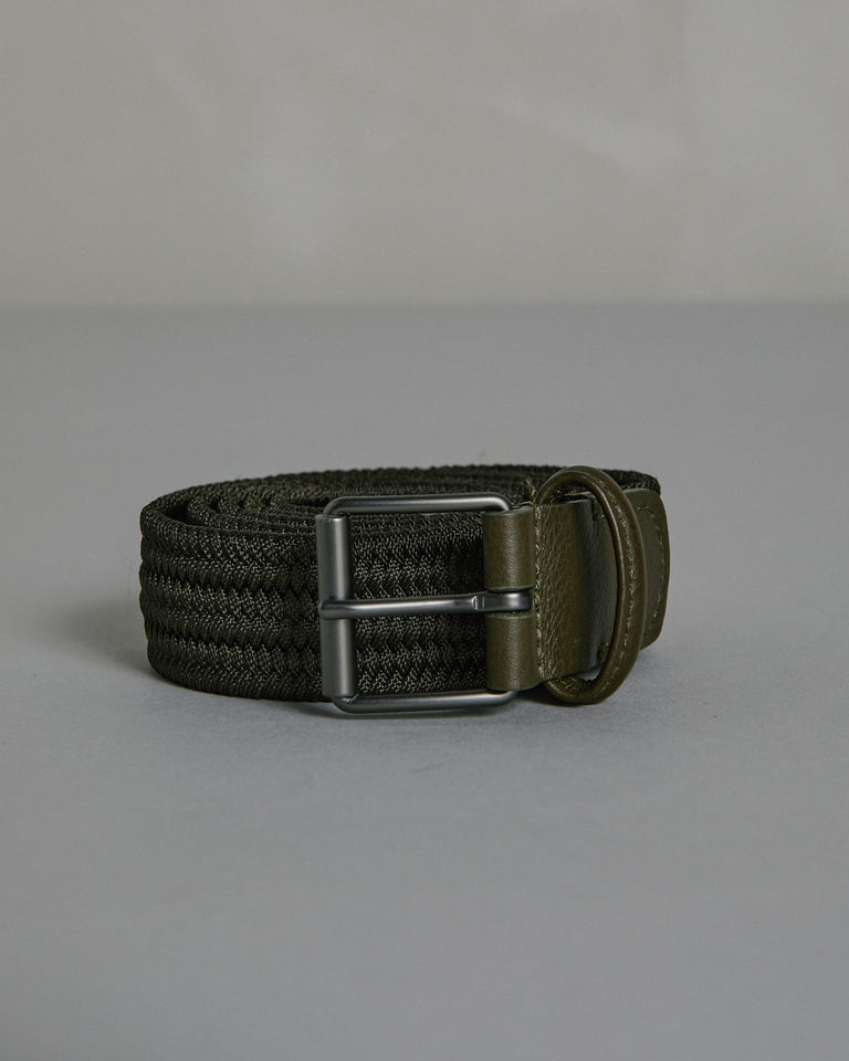 Matte Silver Buckle Belt in Olive
