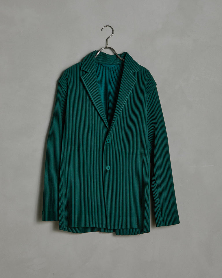 Tailored Pleated Jacket in Dark Green