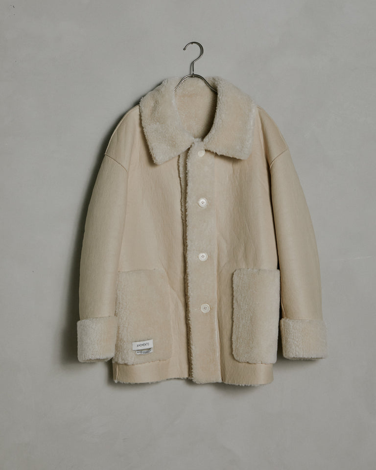 Reversible Shearling Coat in Cream
