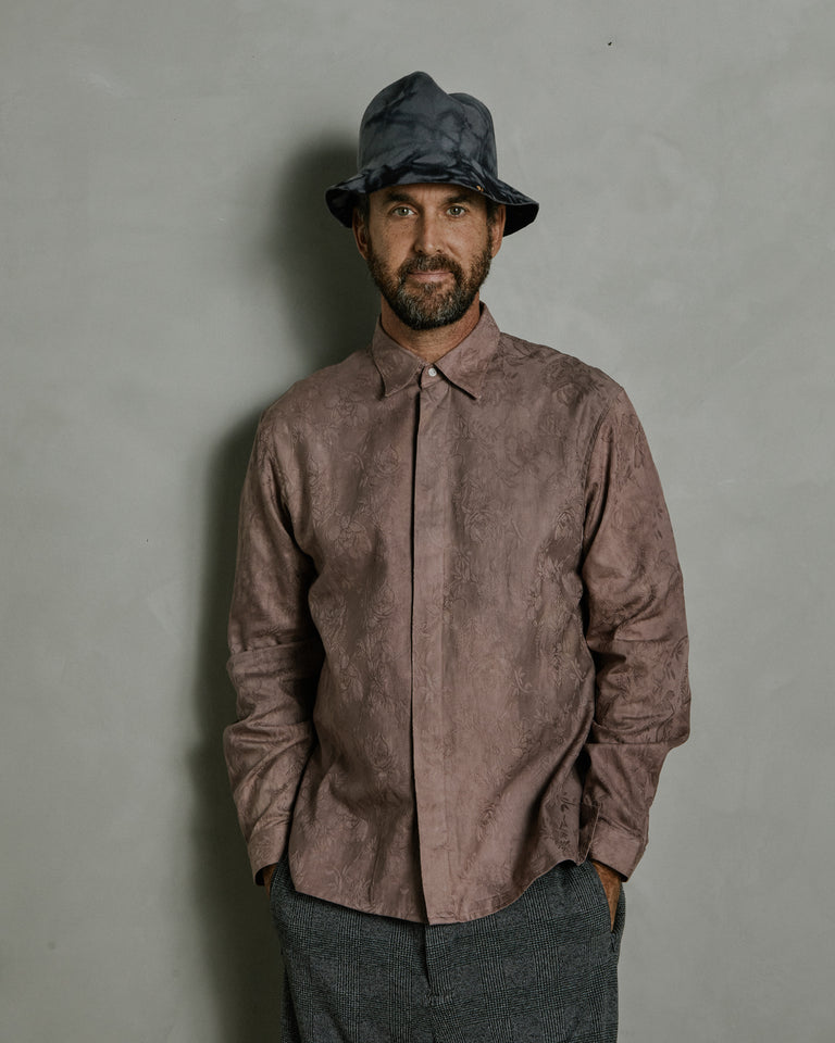 Floral Jacquard Lagos Shirt in Brown