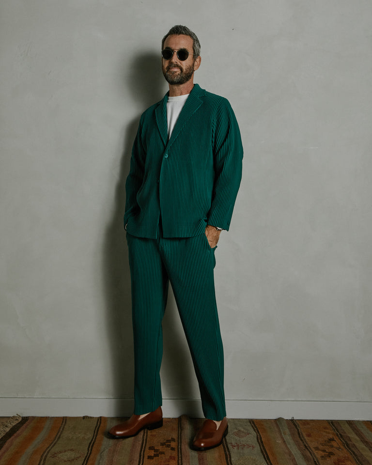 Tailored Pleated Pants in Dark Green