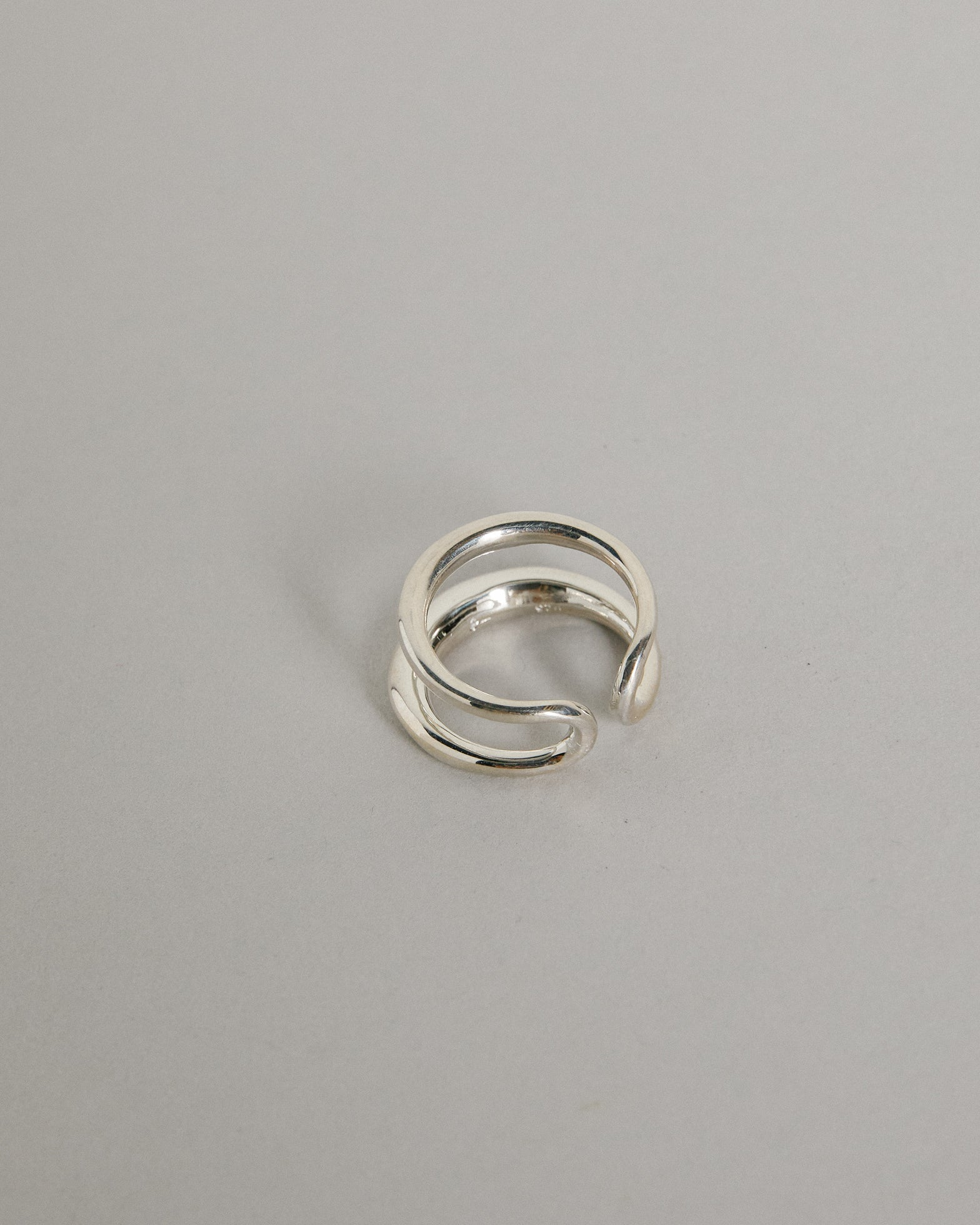 Twin Tusk Ring in Sterling Silver