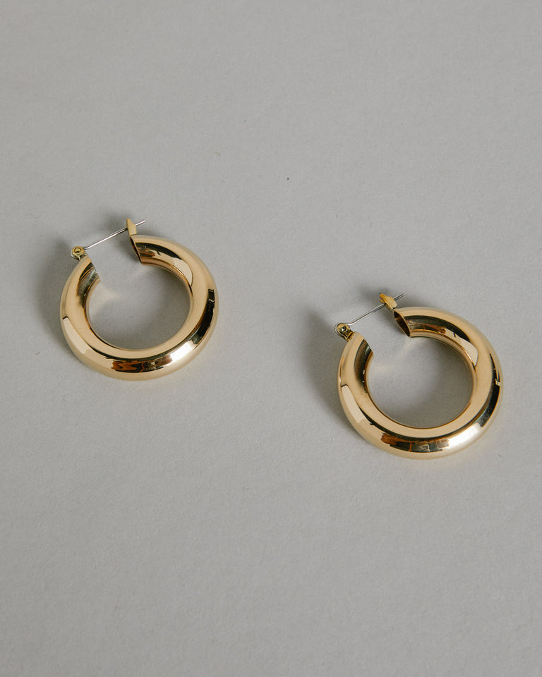 Mini Round Hoops in Brass