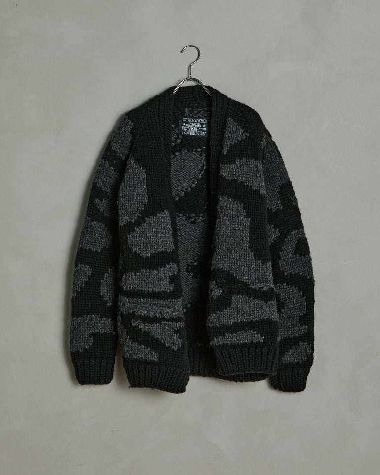 Camo Cowichan Cardigan in Night