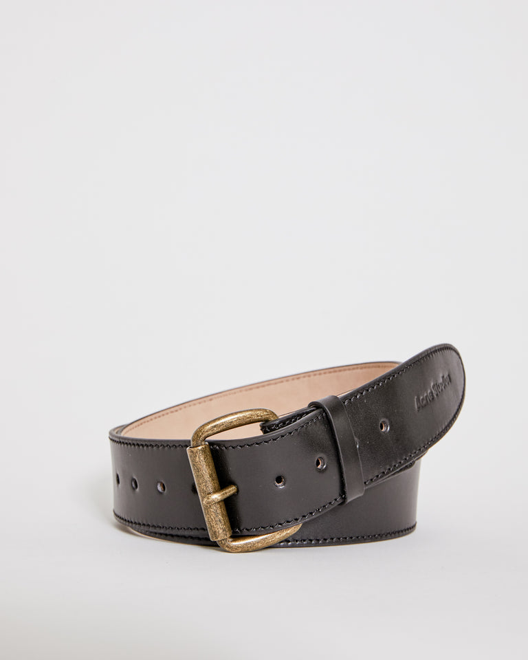 Wide Leather Belt in Black