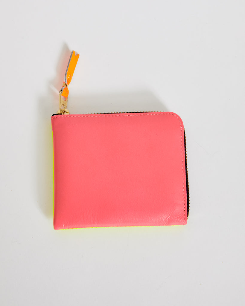 Super Fluorescent Leather Line Wallet 3100SF in Pink / Yellow