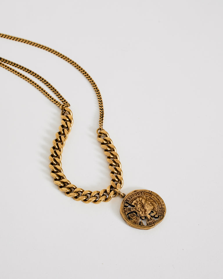 Pendant Necklace in Antique Gold