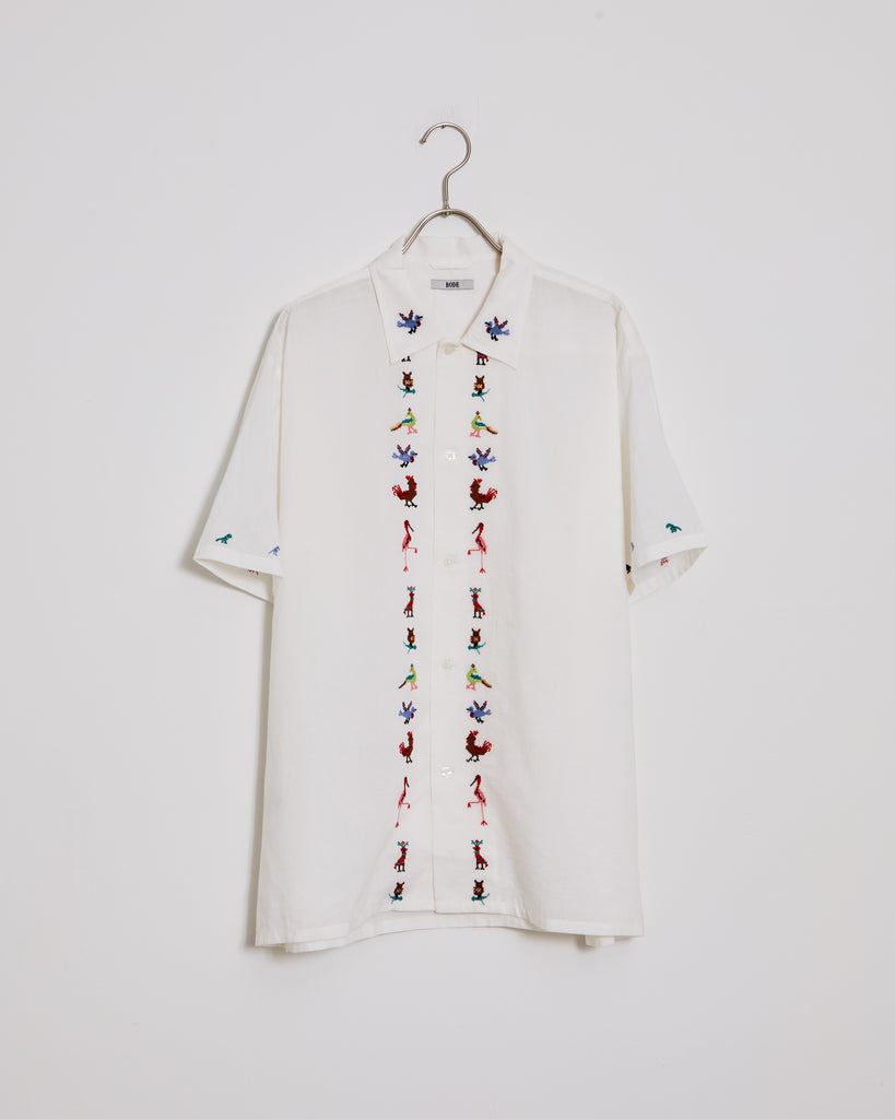 Cross Stitch Bird Shirt in White Multi