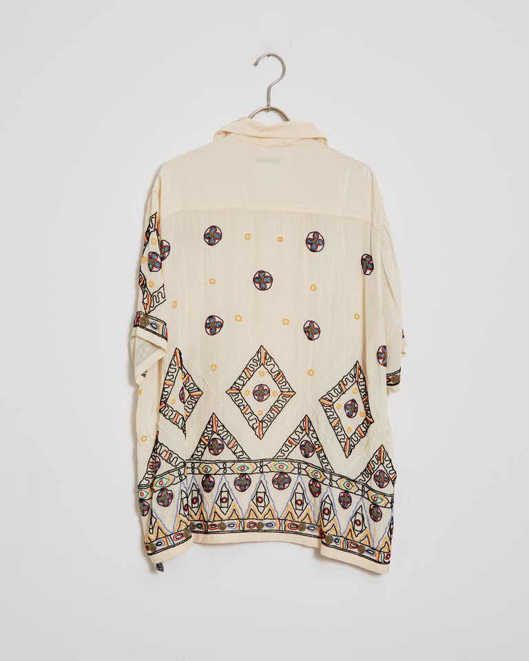 Divine Beaded Shirt in White Multi