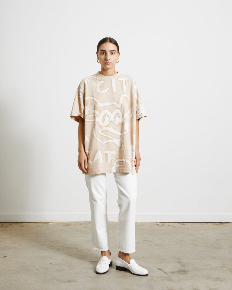 Edra Bleach T-Shirt in Ecru Beige
