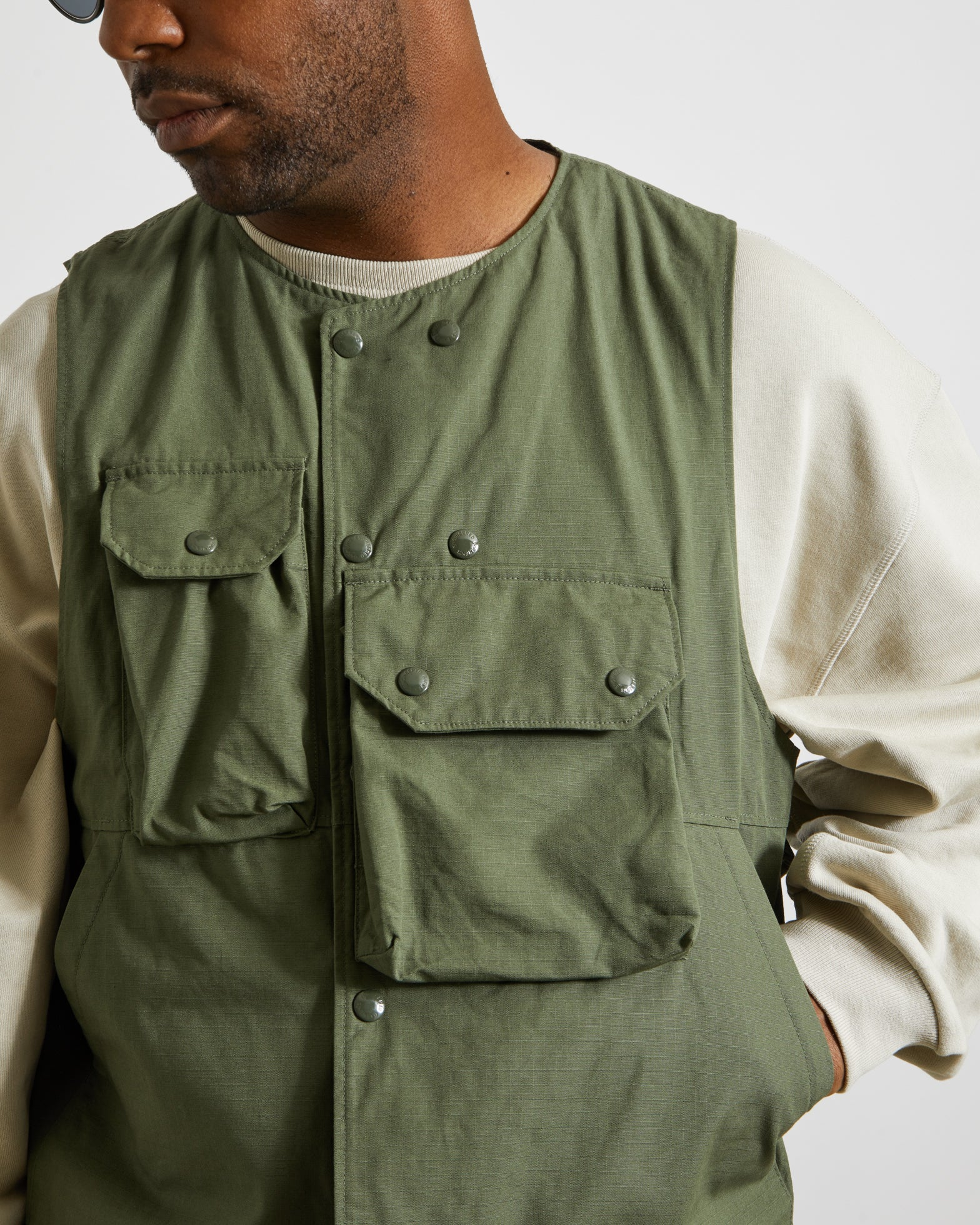 Ripstop Cover Vest in Olive