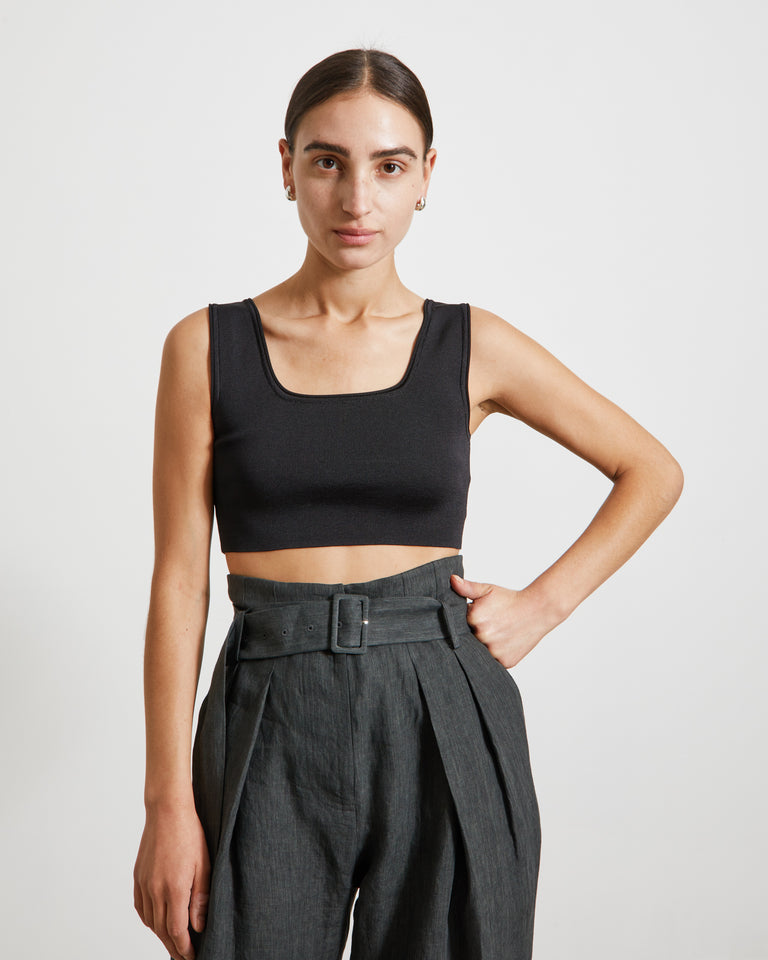 Cropped Knit Top in Black