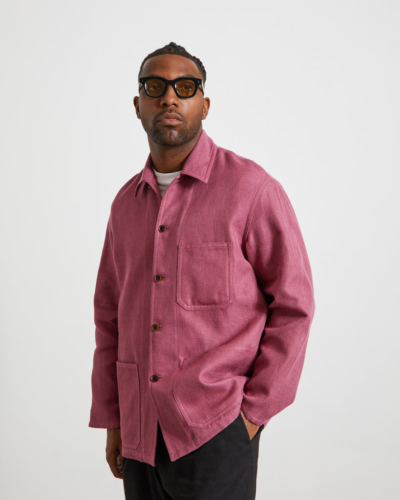 Silk Linen Dobby Shirt Jacket in Light Purple