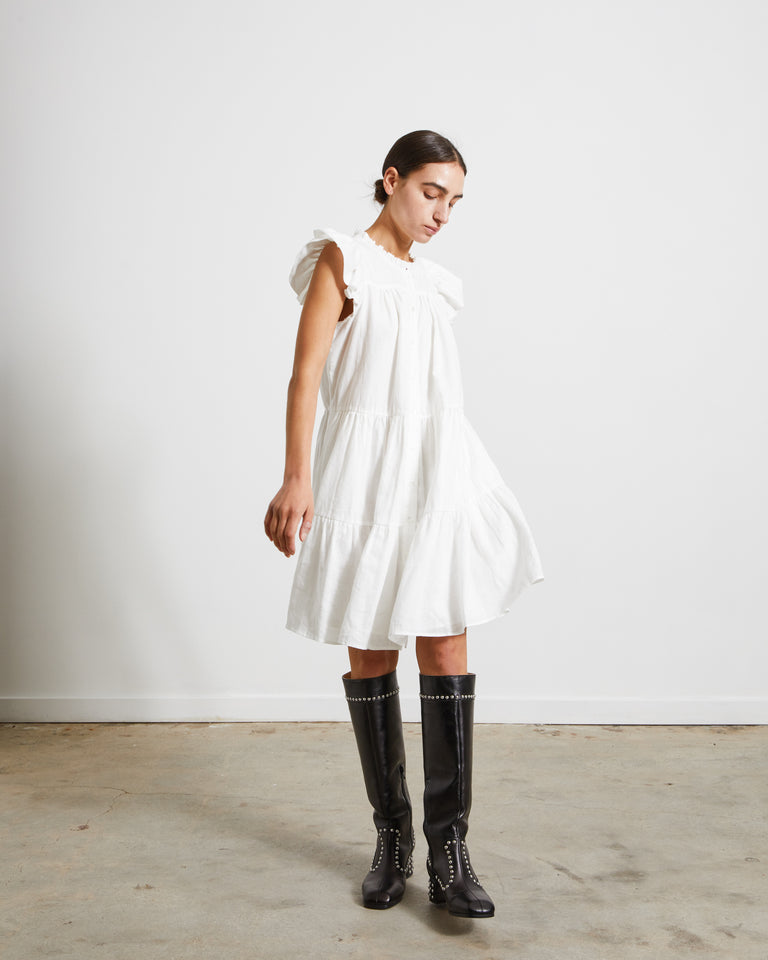 Shannon Scallop Button Down Dress in White