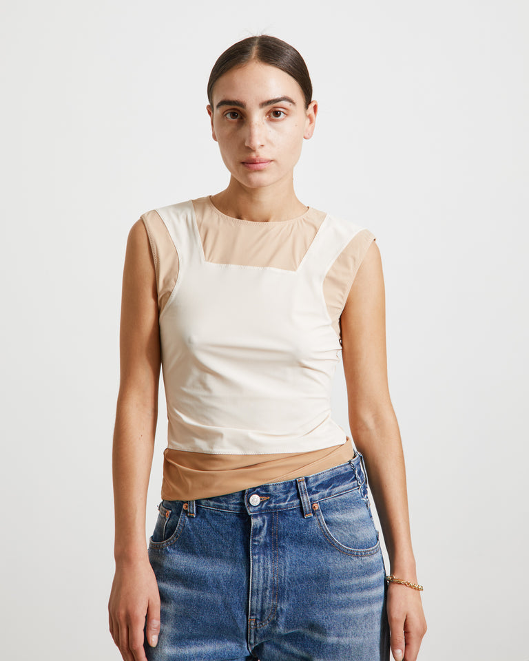 S52NL0051 Top in White/Camel/Nude