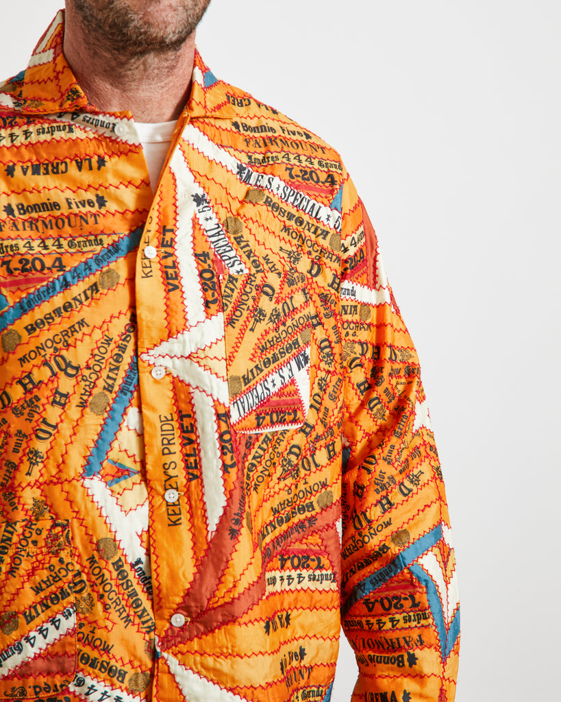 Cigar Silk Patchwork Shirt in Marigold