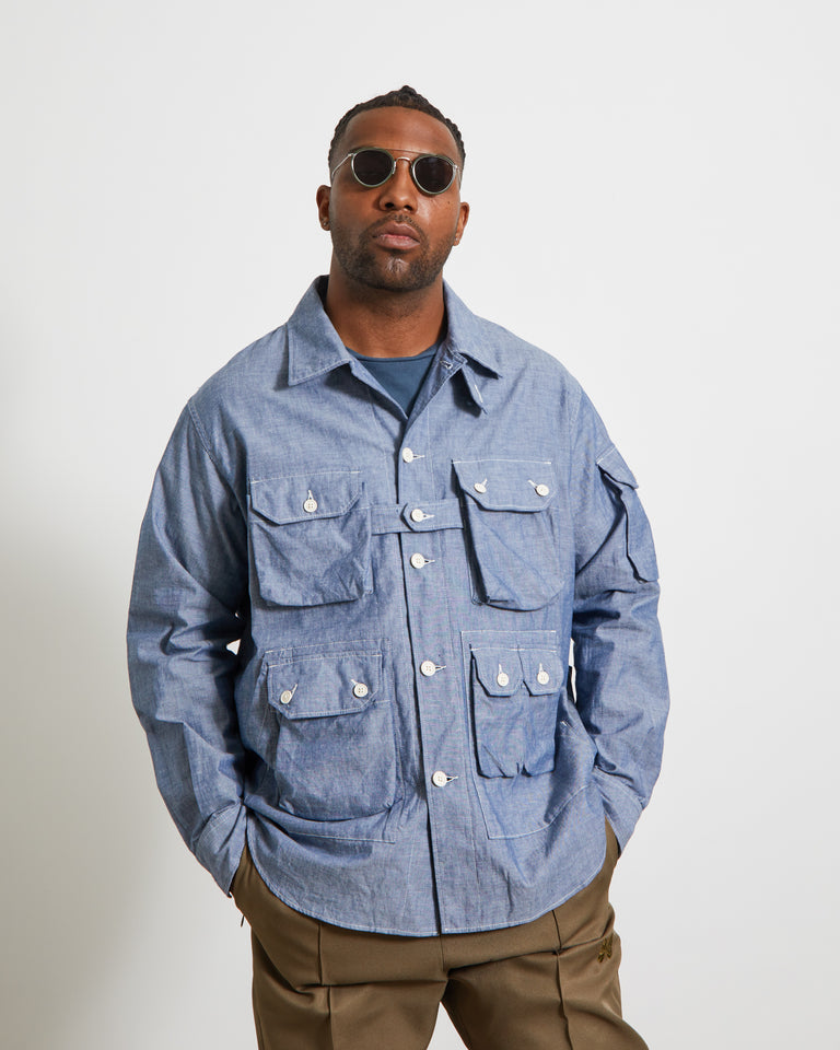 Cotton Explorer Shirt Jacket in Blue Chambray