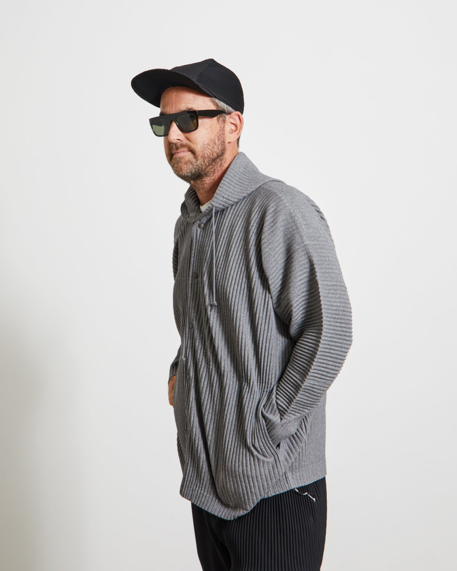 HP08JL143 Hooded Snap Jacket in Heather Grey
